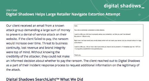 Digital Shadows Helps Large Retailer Navigate Extortion Attempt