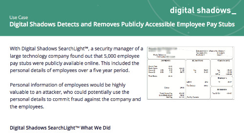 Digital Shadows Detects and Removes Publicly Accessible Employee Pay Stubs