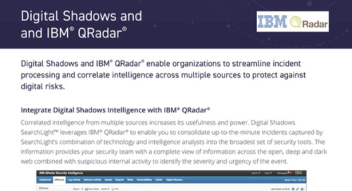 Digital Shadows QRadar Integration Datasheet