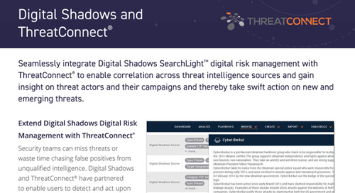 Digital Shadows ThreatConnect Integration Datasheet