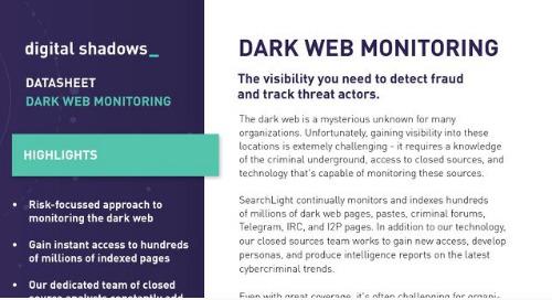Digital Shadows Dark Web and Deep Web Intelligence Datasheet