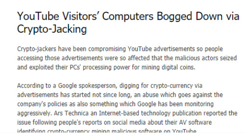 YouTube Visitors' Computers Bogged Down via Crypto-Jacking