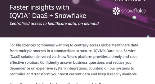 Faster insights with IQVIA™ DaaS + Snowflake