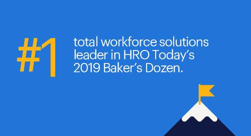 Randstad Sourceright named #1 total workforce solutions leader in HRO Today's 2019 Baker's Dozen Awards.