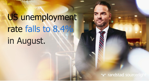 Hunt Scanlon: US unemployment rate falls to 8.4% in August.