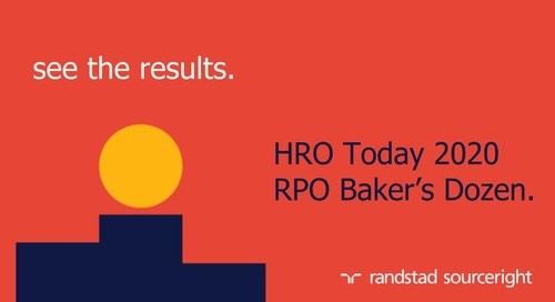 Randstad Sourceright Named #1 'Quality of Service' RPO Provider in HRO Today's 2020 RPO Baker's Dozen Awards
