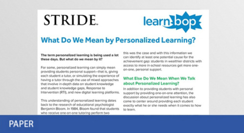 What Do We Mean by Personalized Learning