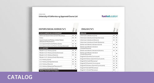 Fuel Education's A-G for California Course List for 2018-2019