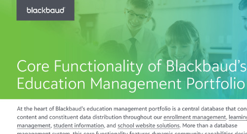 Core Functionality of Blackbaud's Education Management Portfolio