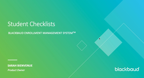 Student Checklists in Blackbaud Enrollment Management System