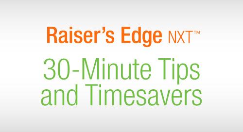 WEBINAR SERIES: 30 Minute Tips & Time Savers in Blackbaud Raiser's Edge NXT