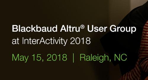 5/15: Blackbaud Altru User Group in Raleigh, NC (Free Event)