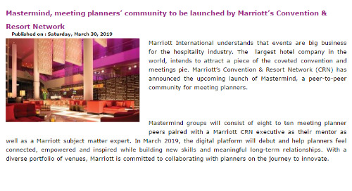 Mastermind, meeting planners' community to be launched by Marriott's Convention & Resort Network
