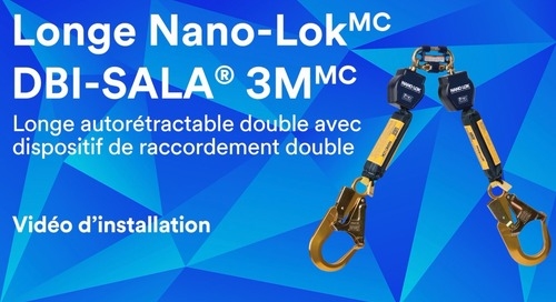 Vidéo d'installation d'une longe autorétractable double avec dispositif de raccordement double