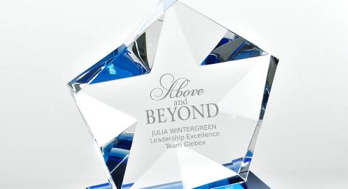 Blue Luminary Crystal Award - Star