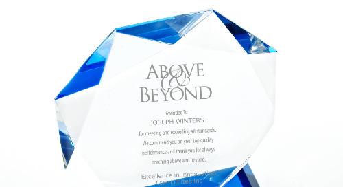 Blue Luminary Crystal Award - Octagon