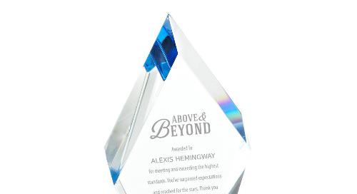 Blue Luminary Crystal Award - Diamond
