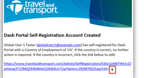 Travel Manager Verification - Dash Portal Self Registration