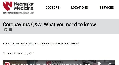 Coronavirus Q&A (Nebraska Medicine)