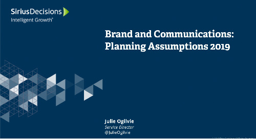 2019 Planning Assumptions: Brand and Communications Webcast Replay