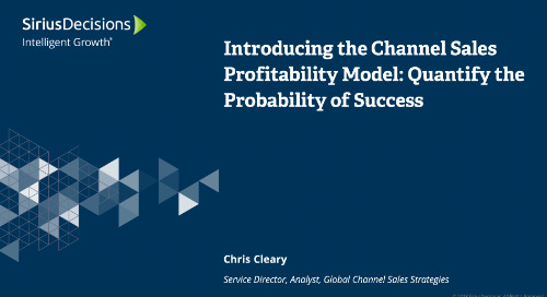 Introducing the Channel Sales Profitability Model: Quantify the Probability of Success Webcast Replay