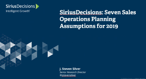 2019 Planning Assumptions: Sales Operations