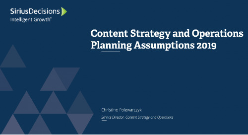Planning Assumptions for 2019: Content Strategy and Operations Webcast Replay