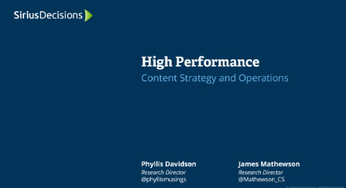 High Performance: Content Strategy and Operations