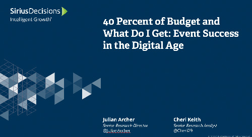 40 Percent of Budget and What Do I Get: Event Success in the Digital Age Webcast Replay