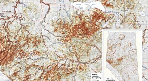 Modèle relatif de susceptibilité aux glissements de terrain dans les régions des plaines et du bouclier de l'Alberta (carte AGS 605)