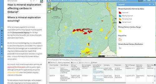 Application du mois : En quoi l'exploration minière perturbe-t-elle les caribous en Ontario?