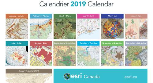 Cartes et applications sélectionnées pour les calendriers 2019 d'Esri Canada