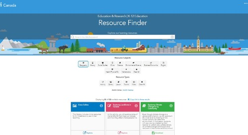 Esri Canada's K-12 Resource Finder: Discover free resources tied to curriculum