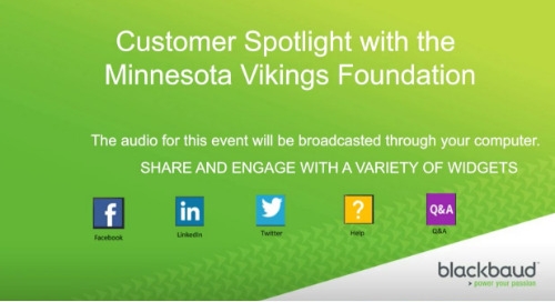 Blackbaud Webinar: Customer Story featuring the Minnesota Vikings Foundation