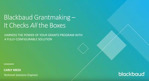 Blackbaud Grantmaking Overview Demo