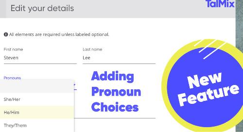 Talmix adds Pronoun Choices to Talent Passport