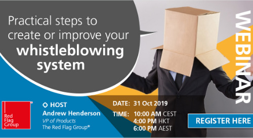 Webinar: Practical steps to create or improve your whistleblowing system