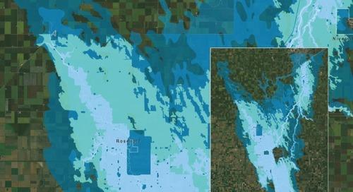 Étendue des inondations causées par la crue de la rivière Rouge, au sud du Manitoba