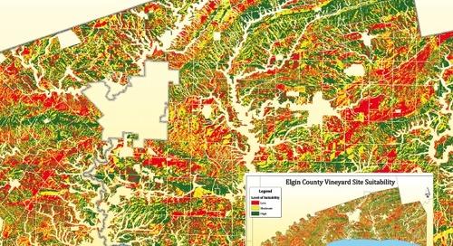 Emplacements adéquats pour la culture de vignoble au comté d'Elgin