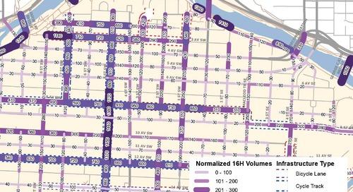 Carte de densité de la circulation en bicyclette au centre-ville de Calgary