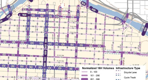 Carte de densité de la circulation en bicyclette au centre-ville de Calgary