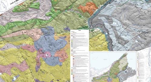 Carte géologique du substrat rocheux de la région des hautes terres d'Antigonish, dans les comtés d'Antigonish et de Pictou, en N.-É.