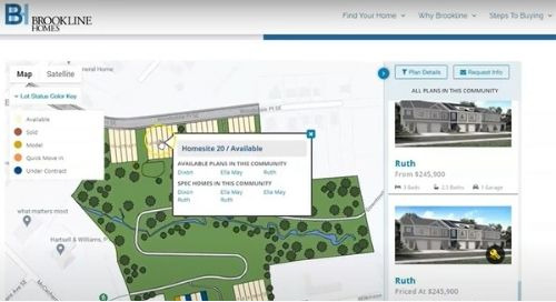 Brookline Homes Uses Geospatial ISP to Integrate Interactive Site Plan Into Google Maps