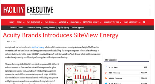 Acuity Brands Introduces SiteView Energy