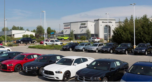 AEL Autobahn LED luminaires help sell vehicles after dark