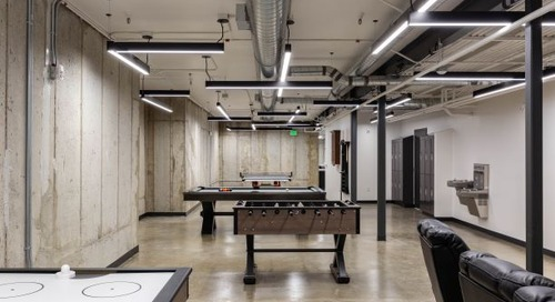 Playful lighting design sets recreation space apart in engineering firm headquarters
