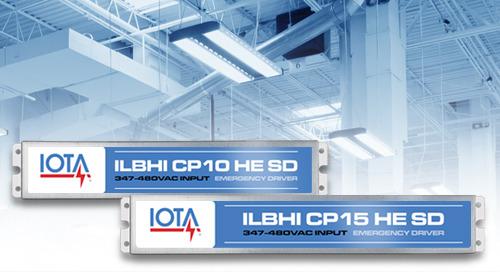 New IOTA® ILBHI Emergency Drivers Solve Your 347-480VAC Challenges