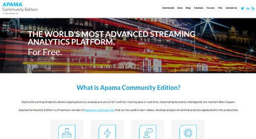 Free trial: THE WORLD'S MOST ADVANCED STREAMING ANALYTICS PLATFORM - Download Apama Community Edition