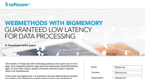 White Paper: WEBMETHODS WITH BIGMEMORY Guaranteed low latency for all data processing needs