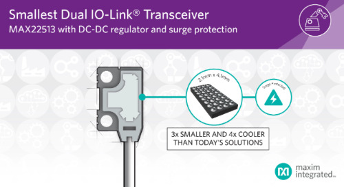 Maxim Releases Dual IO-Link Transceiver with DC-DC Regulator and Surge Protection